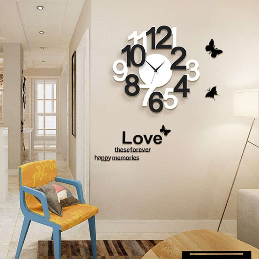 Wall Clock Modern Design Digital Wall Watch Home Decor For Living Room Klokken Wandklokken Large Clock Wall With Wall Stickers Wall Clock Modern Living Room Decor Large Wall Clock