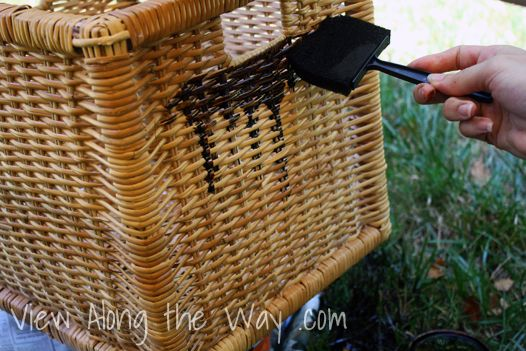 staining wicker baskets diy pinterest painted baskets