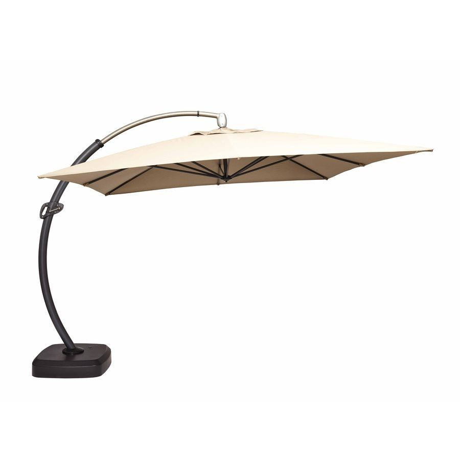 Shop allen + roth 11.5-ft Square Taupe Offset Umbrella with Base at Lowe's  Canada. Find our selection of patio umbrellas at the lowest price  guaranteed with ... - Shop Allen + Roth 11.5-ft Square Taupe Offset Umbrella With Base At