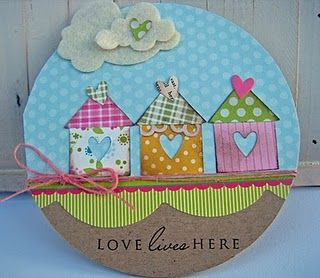 Houses made with squares, triangles & hearts - cute #card