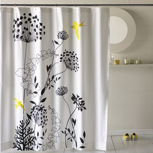 Black And White Flower Shower Curtain Shower Curtain Decor Modern Shower Curtains Yellow Shower Curtains