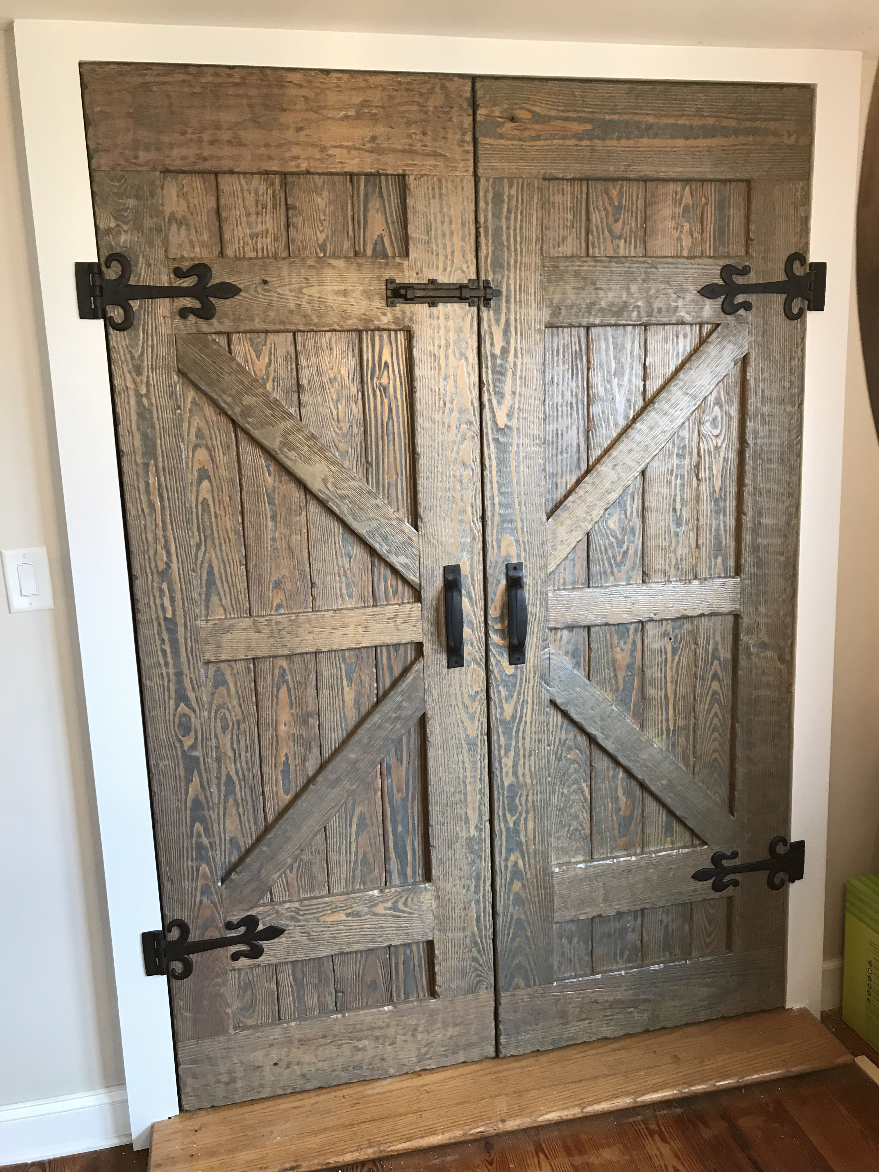 My Attempt At Barn Doors Base Light Stain Topped With Gray And Poly Tall Cabinet Storage Barn Door Doors