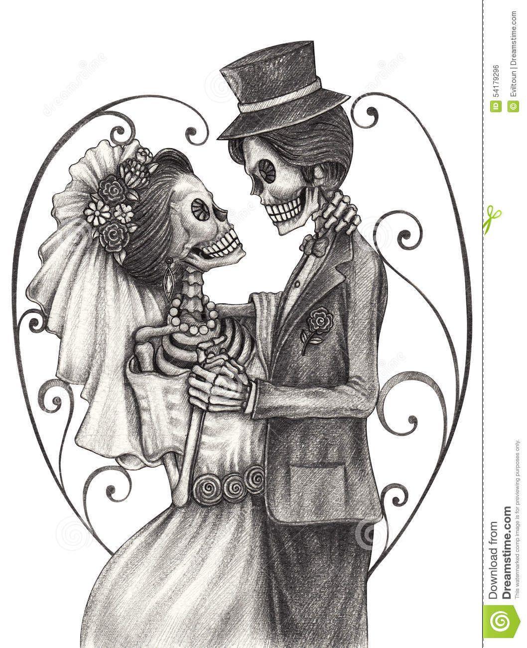 Bride And Groom Skeleton Drawings