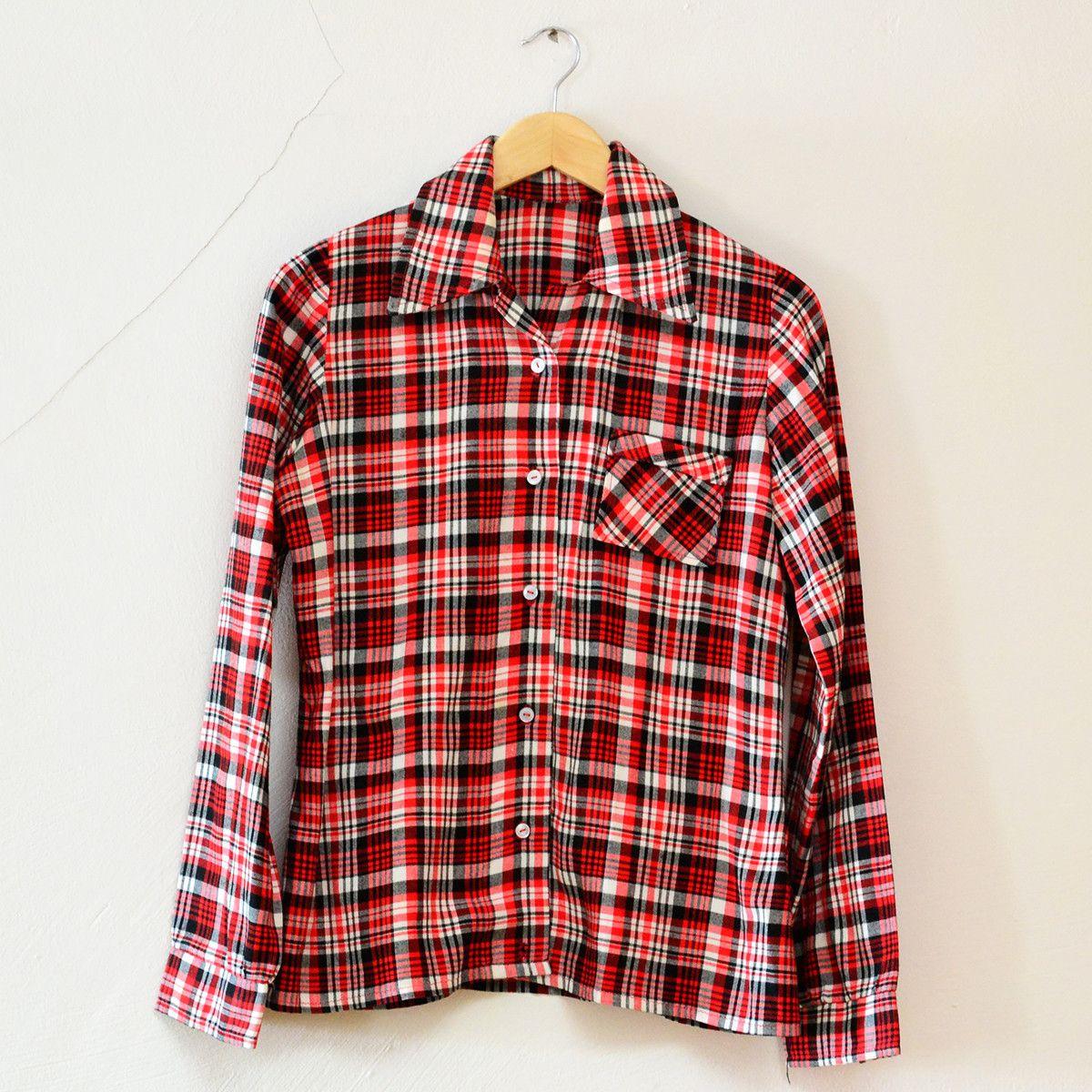 Flannel shirt vintage  Red Black Plaid Shirt M  Red black Black plaid shirt and Plaid