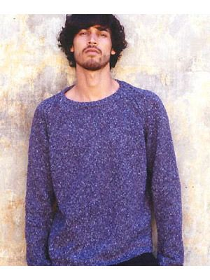 Man Wearing Rowan Fusion Mens Jumper Free Knitting Pattern