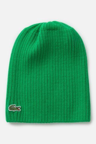 2e5eaab2732 Lacoste Men s Green Croc Ribbed Wool Knit Beanie   Caps   Hats ...