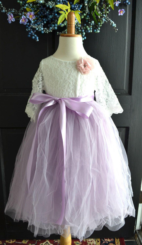 Flower Girl Tutu Dress Lilac Lavender Long Tulle Skirt Lace Blouse Purple