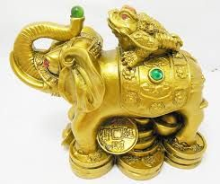 Displayed in your office and common areas of home Elephant is at symbol of strength and power. Wealth Frog is symbol of excellent wealth luck. These two auspicious animals are combined, they mean stability and victory. Success in money-making. Promotion and salary increment.