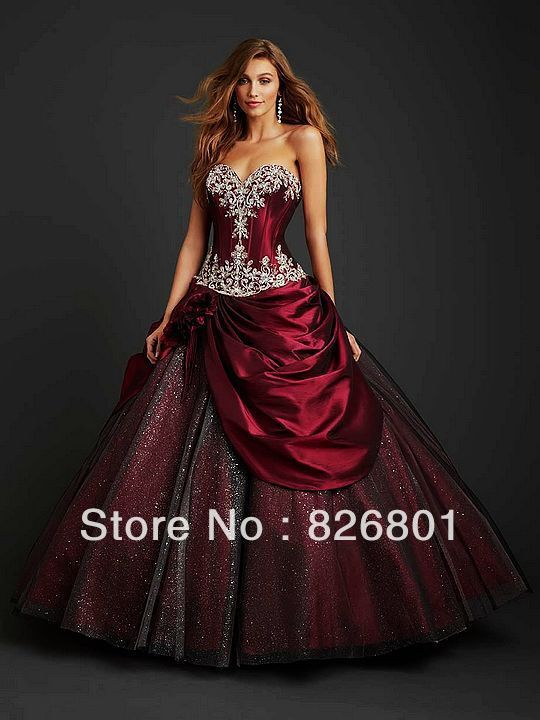 dab2f6325aa5c Vintage Gothic Ball Gown | Gothic Style Appliques Sweetheart Tulle ...