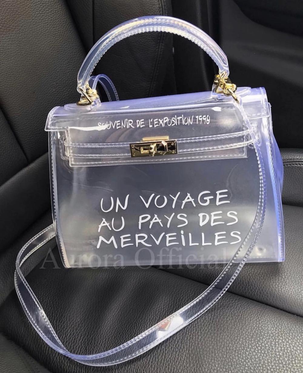 Un Voyage Medium PVC Tote Bag Clear