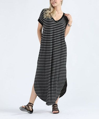 89f7f0946e38 Another great find on  zulily! Black   Gray Stripe Side-Slit Maxi Dress -  Plus Too  zulilyfinds