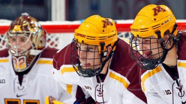 Freshmen Score Five Goals As No 1 Minnesota Tops No 4 Notre Dame Minnesota Notre Dame Football Helmets