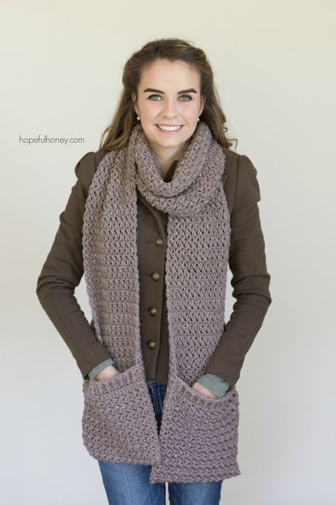 Mulberry Shadow Pocket Scarf - Free Crochet Pattern | Free crochet ...
