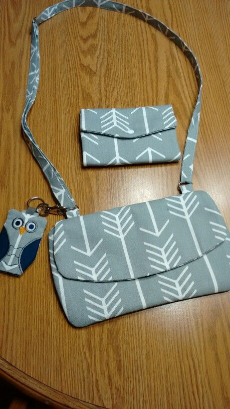 Embroidery garden clutch purse, trifold wallet and owl sanitizer holder
