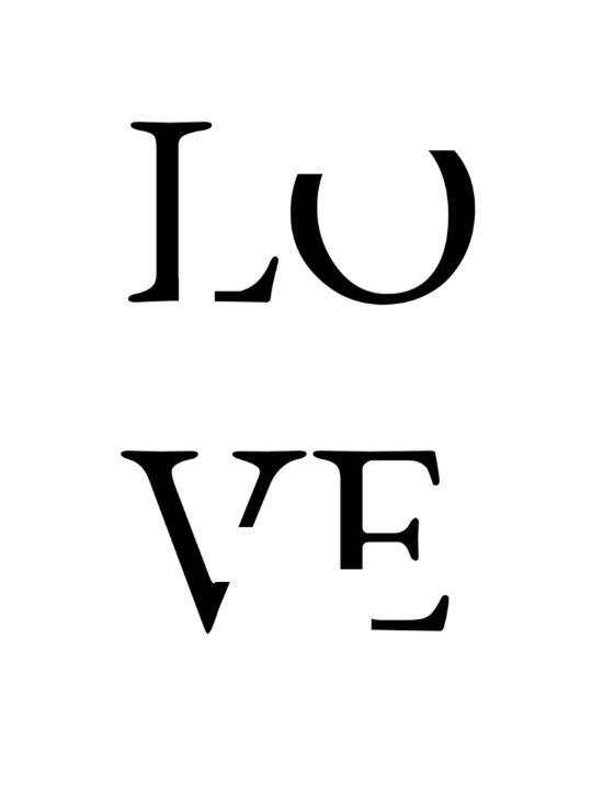 LOVE Art Print, love typography, love print, monochrome art print ...