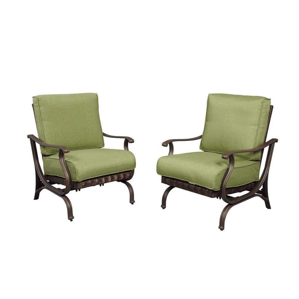 hampton bay pembrey patio lounge chair with moss cushion 2 pack