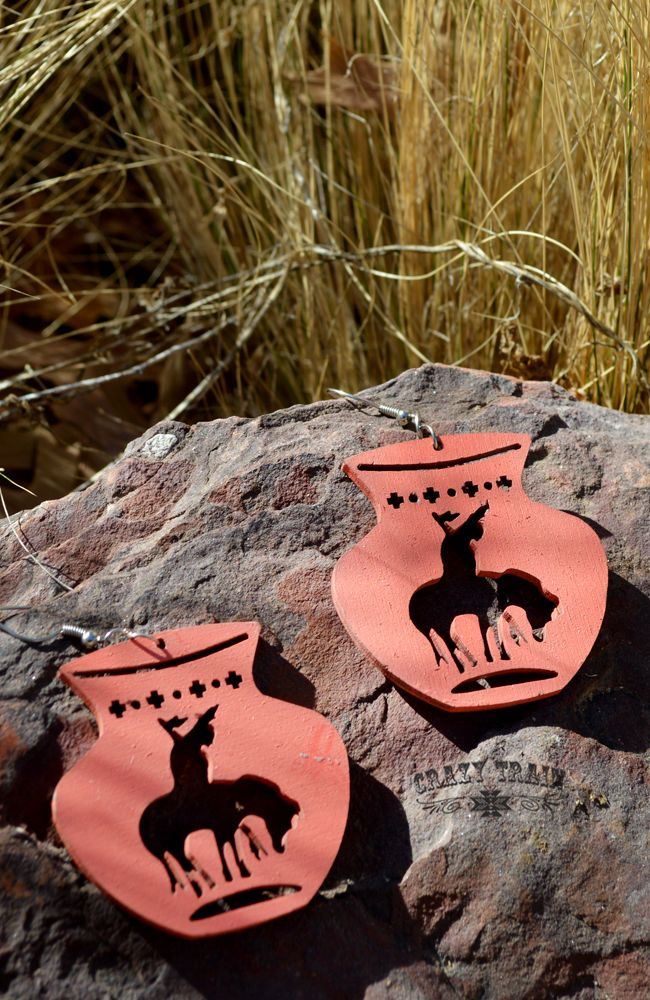 New Crazy Train End Of Trail Long Chunky Earrings Coral Wood Southwest CrazyTrain