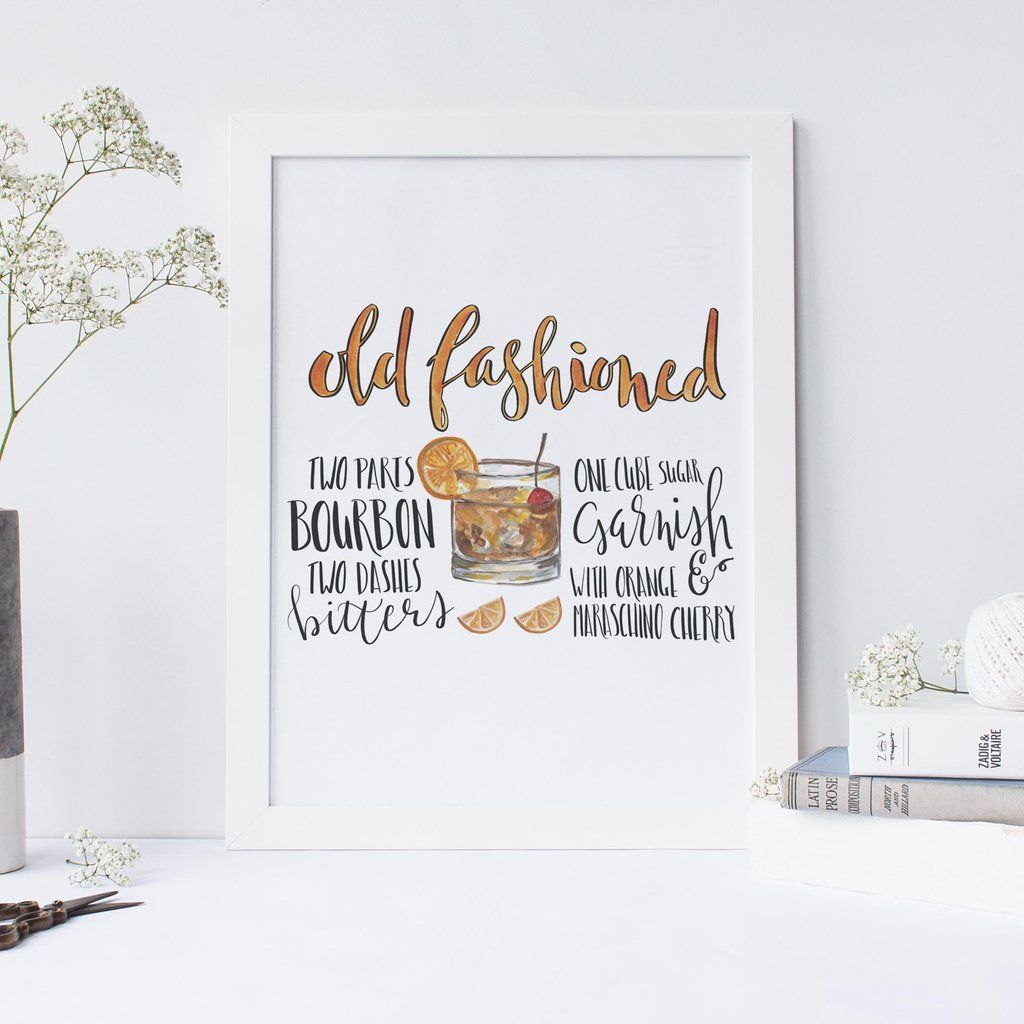 Add some style to your kitchen or bar decor with this hand drawn old