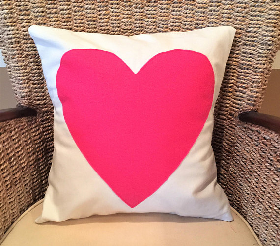 Pink heart pillow cover decorative throw pillow dorm room