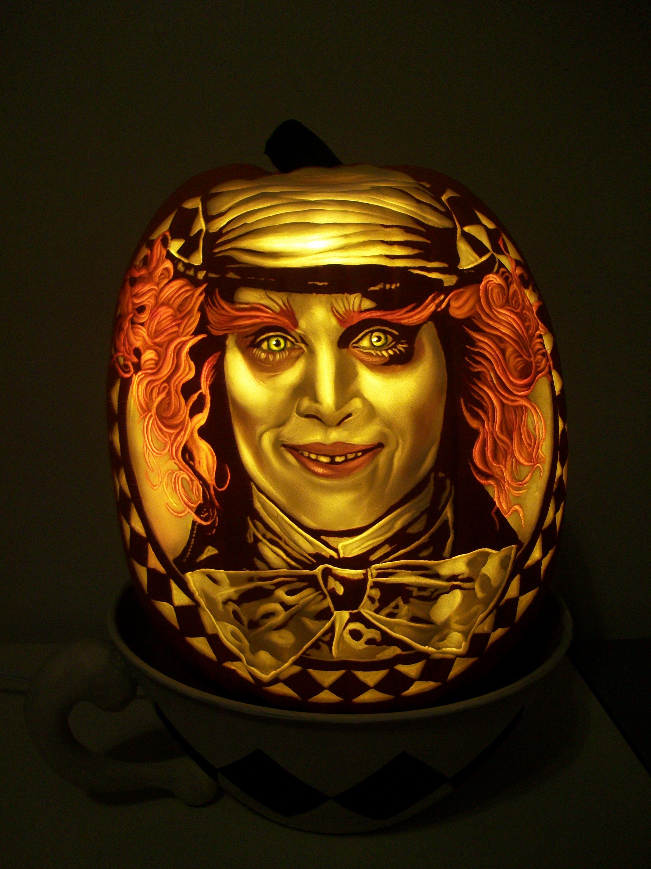 tim burton mad hatter carved pumpkin dan szczepanski art