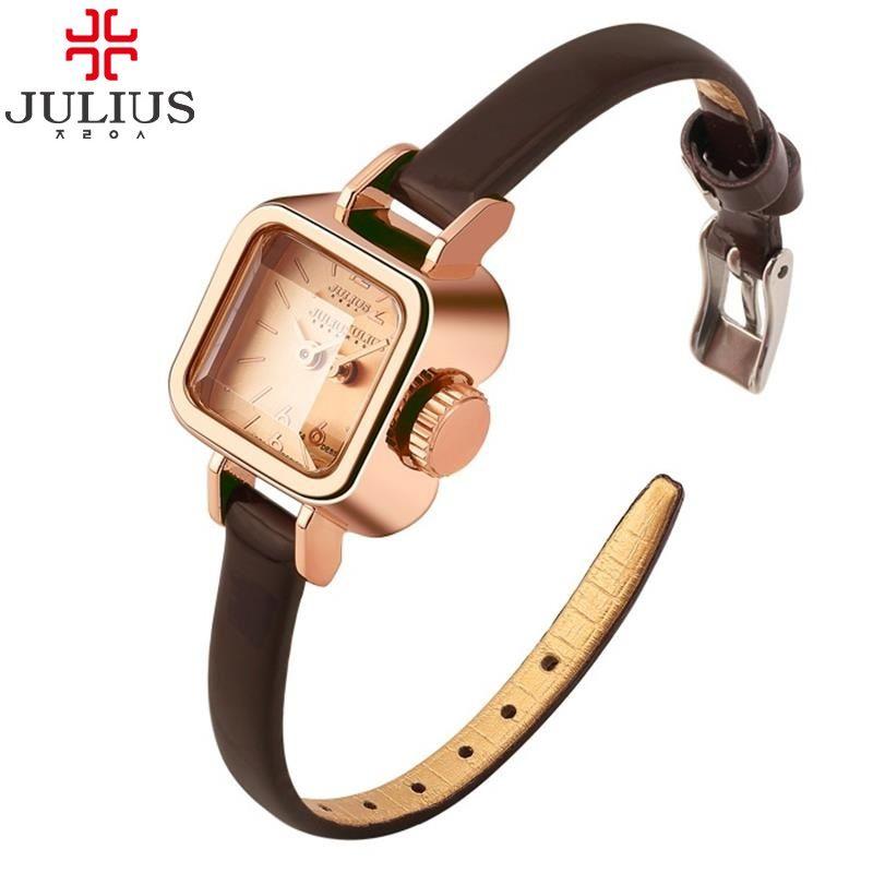 0ece061c550 JULIUS Brand Rose Gold Vintage Square Leather Dress Wrist watch ...