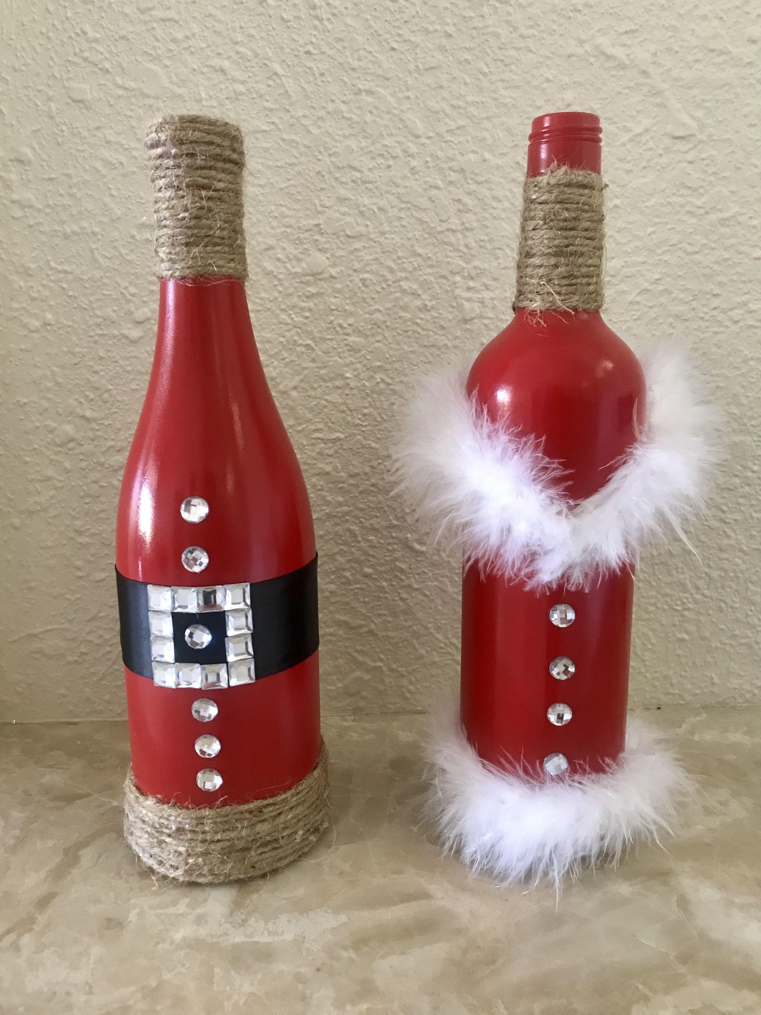Santa Mrs Claus Wine Bottles Adornos Navidenos Con Botellas Botellas De Vino De Navidad Decoracion De Botellas Navidenas