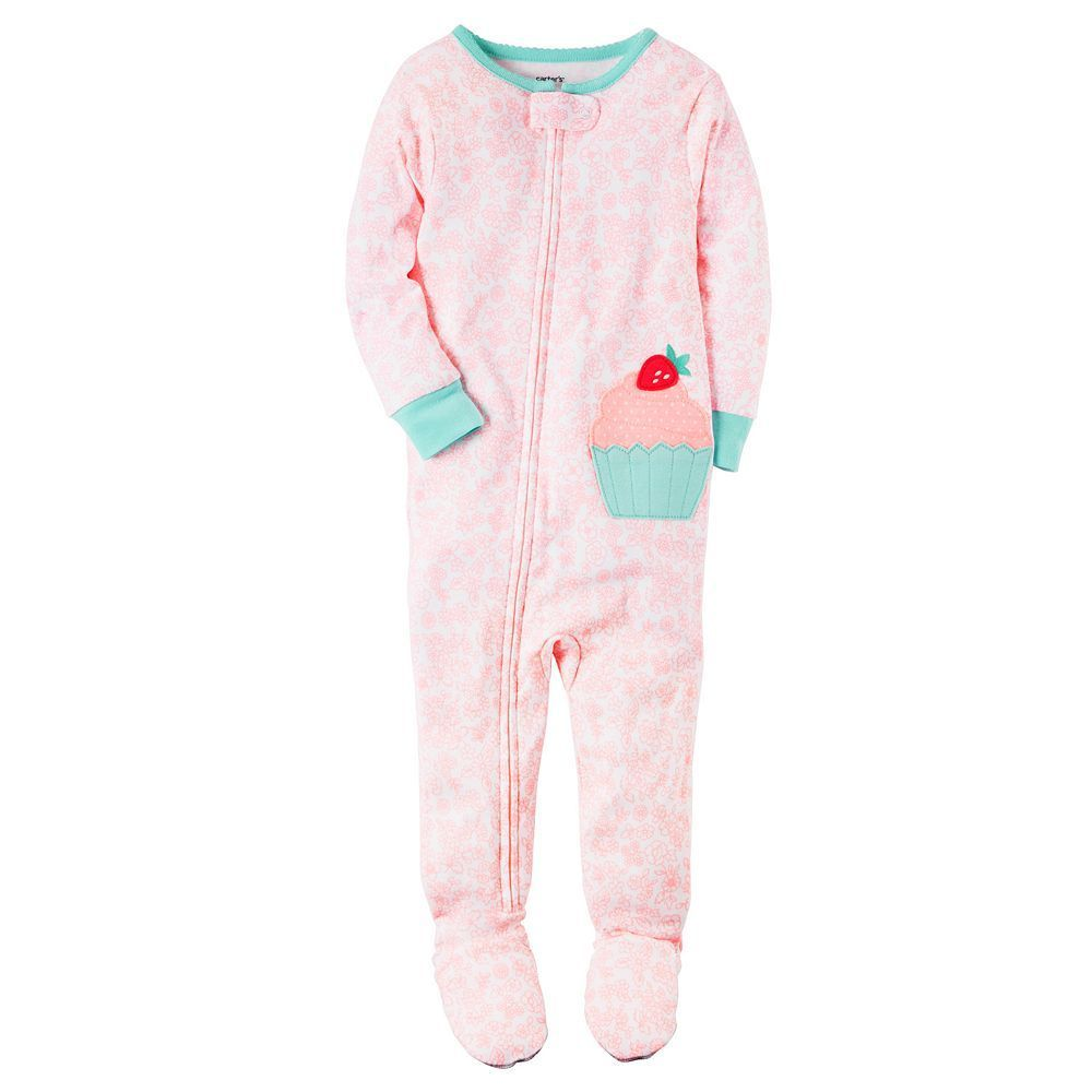909594cd8 Baby Girl Carter s Print Applique Footed Pajamas