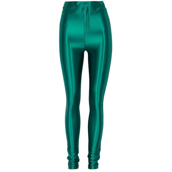 5c8939d9277e9 Dark Green High Waist Shiny Disco Pants ($17) ❤ liked on Polyvore featuring  pants