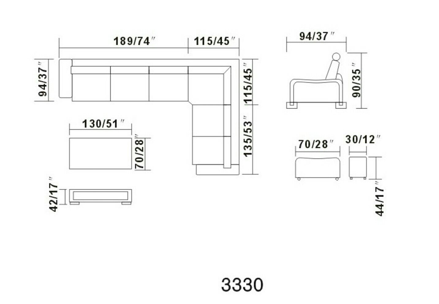 sectional sofa dimension sectional
