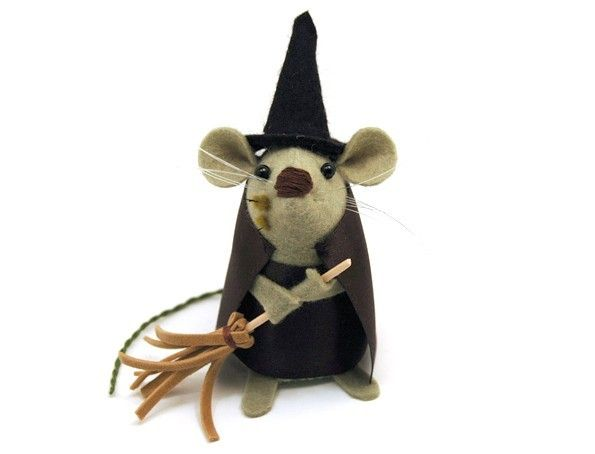 FREE SHIPPING Witch Mouse Ornament felt rat hamster mice cute gift for animal lover or collector  - Gwendolyn