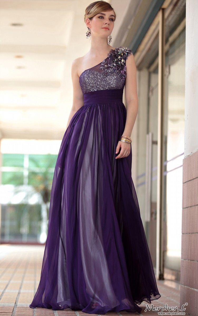 Purple One Shoulder Transparent Bridesmaid Ball Gown Evening Dress ...
