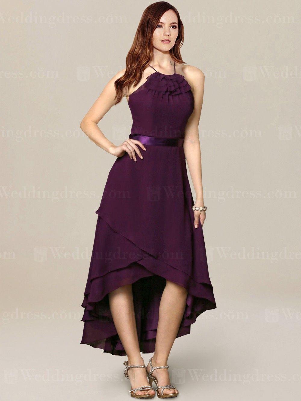 b6b60de17b70 High-low chiffon bridesmaid dress is an A-line dress to flatter any figures