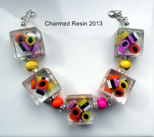 handmade resin bracelet with handmade fimo sweeties    Resin