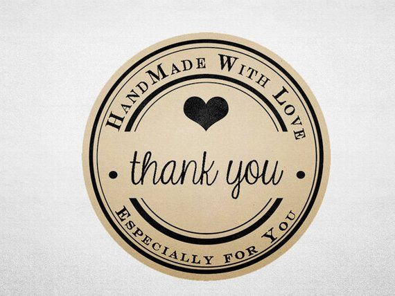 Thank You Stickers - Printable Kraft Stickers - Business Branding -  Handmade with Love - Circle 936a22216b4f