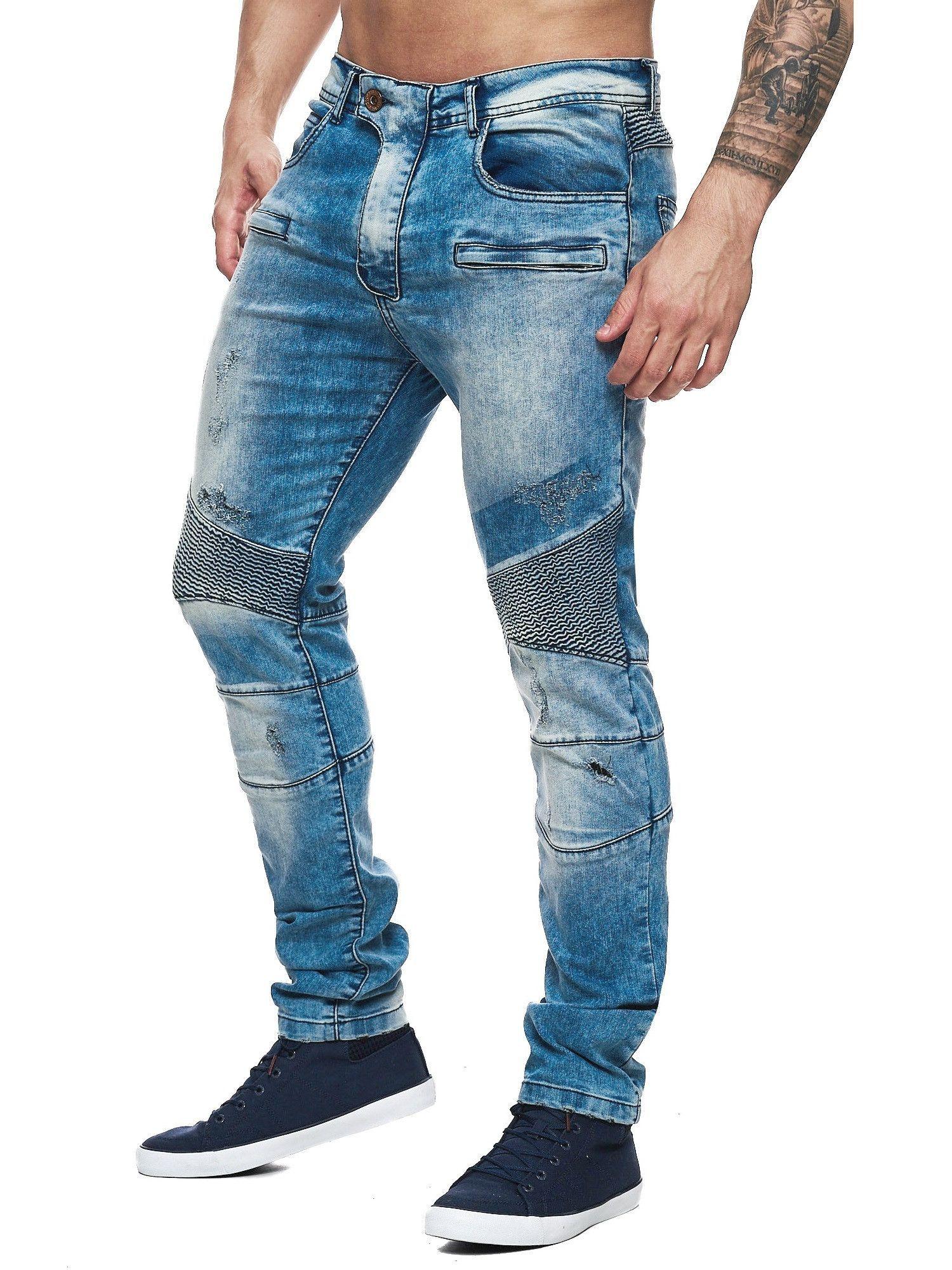 F&S Men Slim Fit Denim Fac Biker Distressed Jeans - Blue