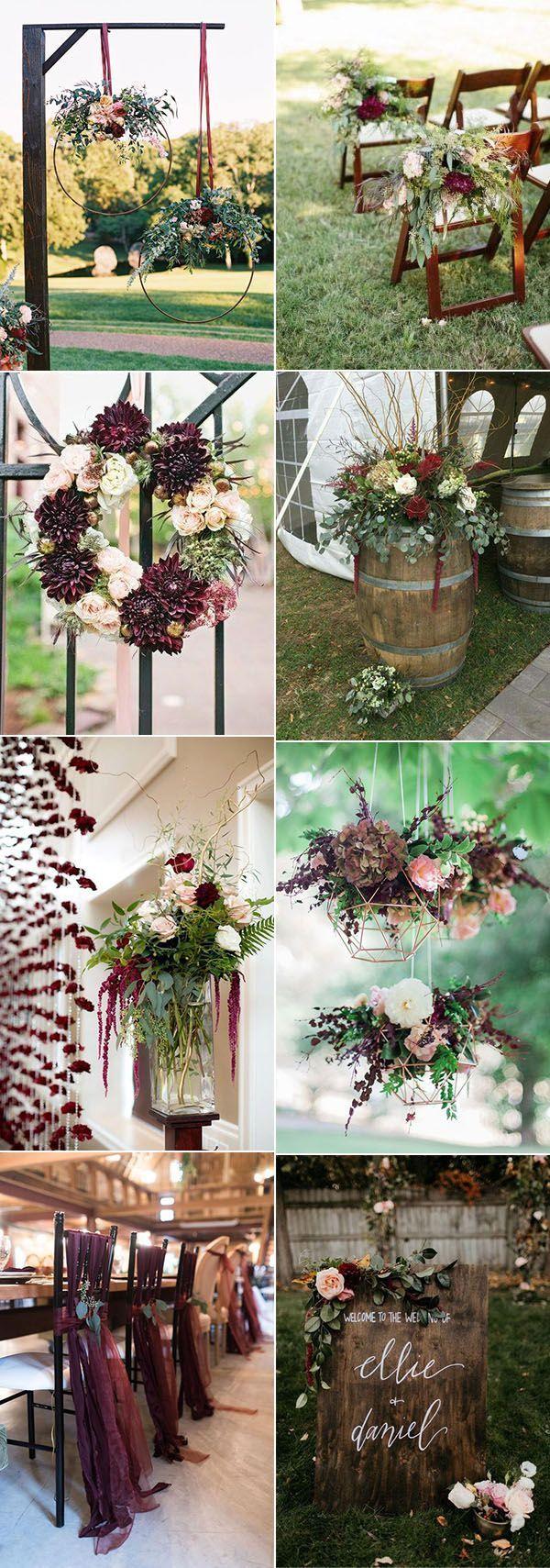 Ideas of wedding decorations  creative burgundy and marsala fall wedding decoration ideas  Bodas