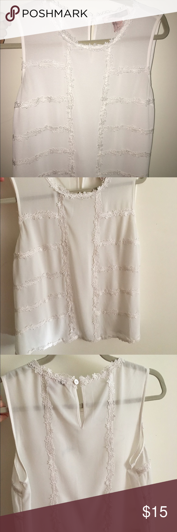 White Blouse with detailed trim Worn once. Beautiful sheer Blouse! Perfect for work or a fun outing with friends! Can be dressed up or dressed down. Extremely comfortable! Forever 21 Tops Blouses