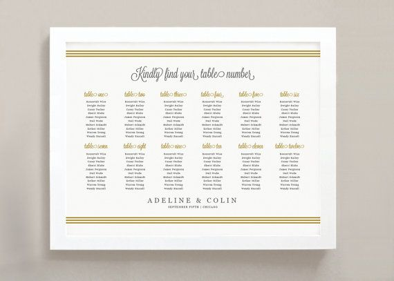 INSTANT DOWNLOAD Printable Seating Chart Poster by SwellAndGrand - printable seating charts