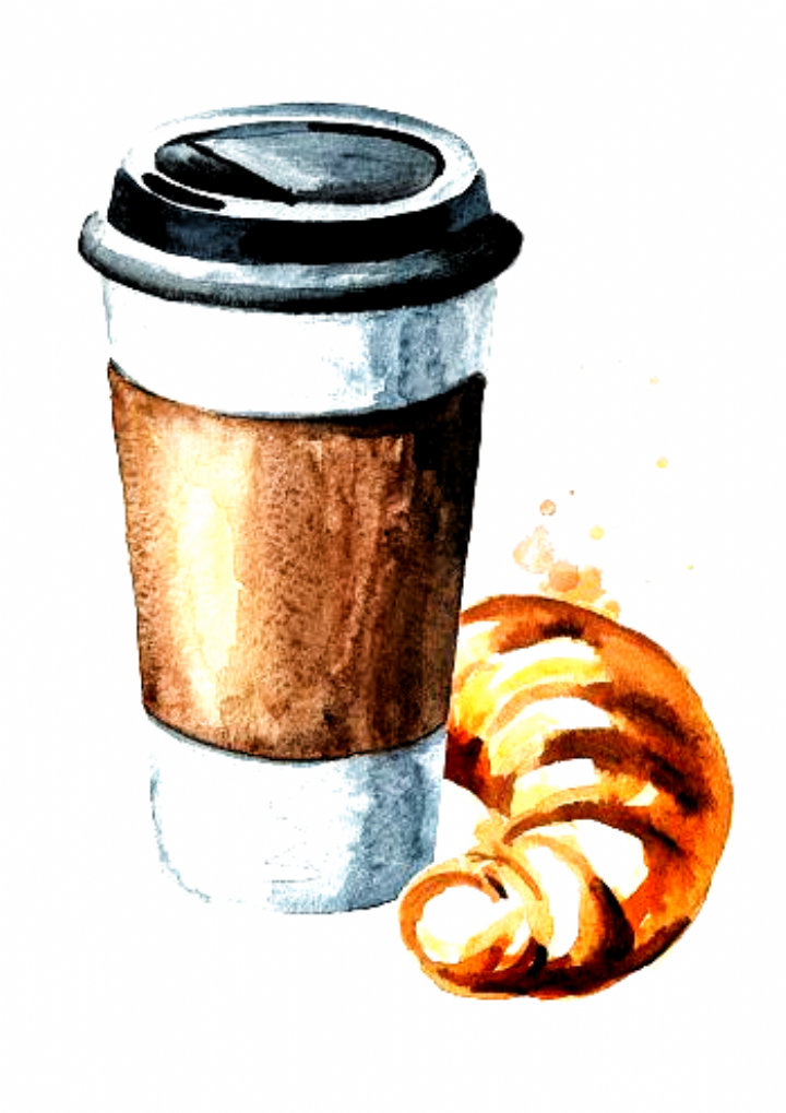 Coffee To Go Paper Cup And Traditional French Croissant Watercolor Coffee To Go Paper Cup And Traditional Frenc Coffee To Go Paper Cup How To Draw Hands