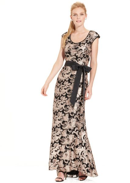 Capsleeve Sequin Embroidered Belted Gown - Lyst