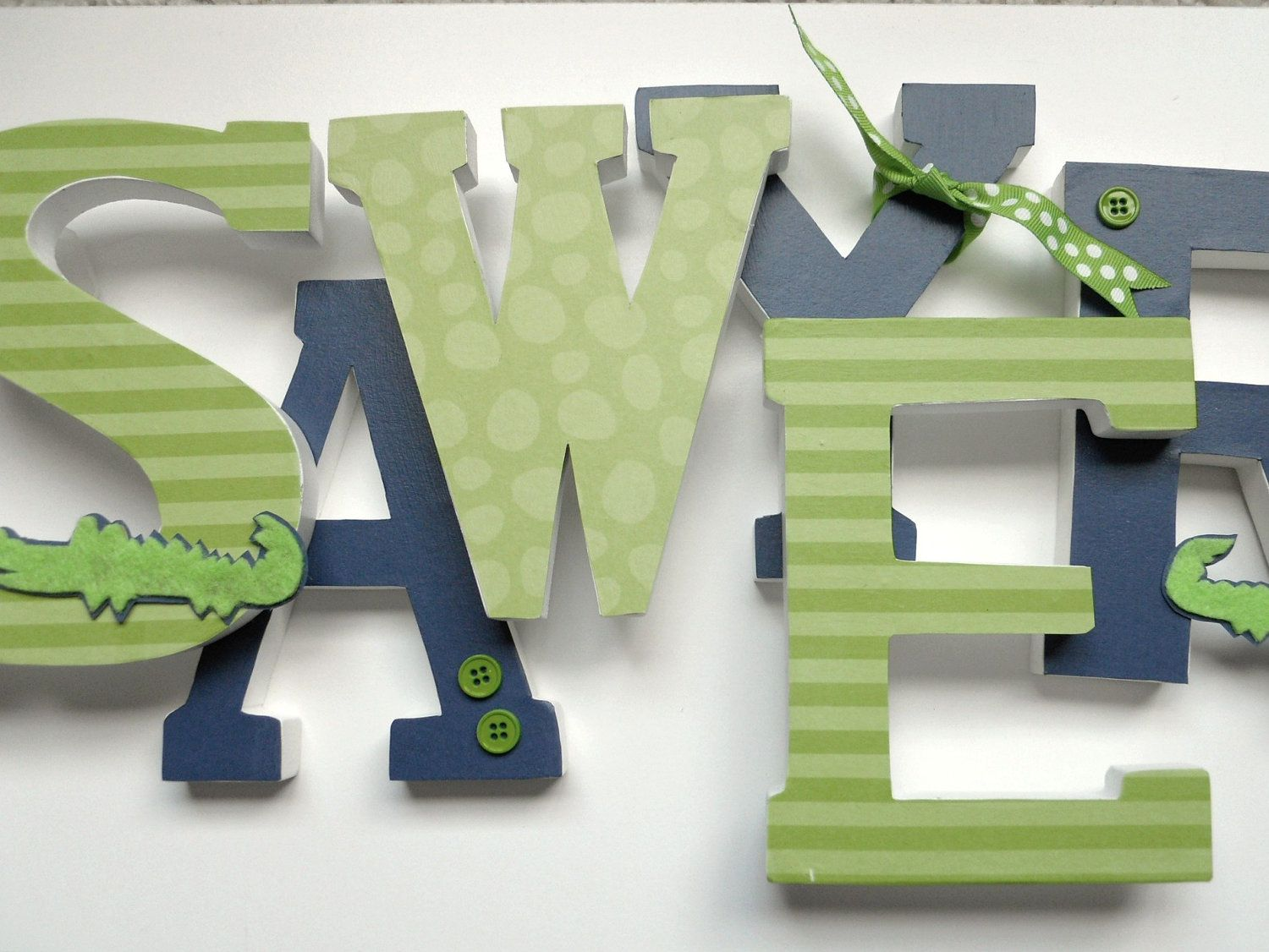 Custom Wooden Letters - Nursery, Kids Rooms,6 Inch Letters, NAVY and ...