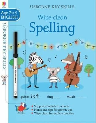 This easy-to-use book provides an enjoyable way for childrento improve their spelling skills. With the help of a group of friendly animals,children learn about adding prefixes and suffixes, practise spelling sometricky starting and ending sounds, and learn to choose the right homophones intheir writing. Wipe-clean pages allow endless practice.Illustrations: Full colourthroughoutWARNING! Not suitable for children under 36 months because ofsmall parts. Choking hazard. Ink from pen may not be washa