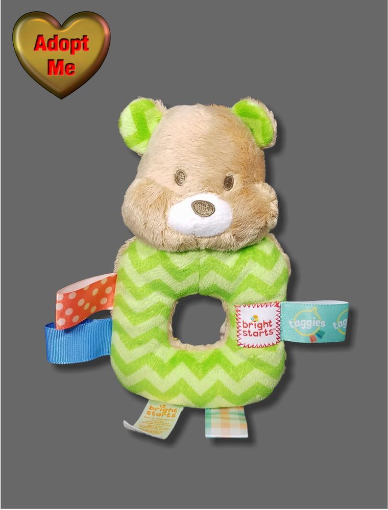 Details About Bright Starts Taggies Tan Green Teddy Bear Baby