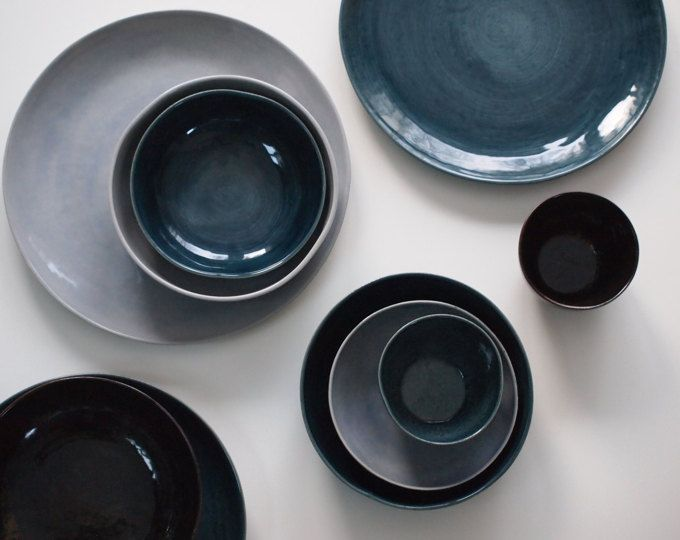 Steinzeug Geschirr Set In Blau Braun Violett Keramik Teller Set
