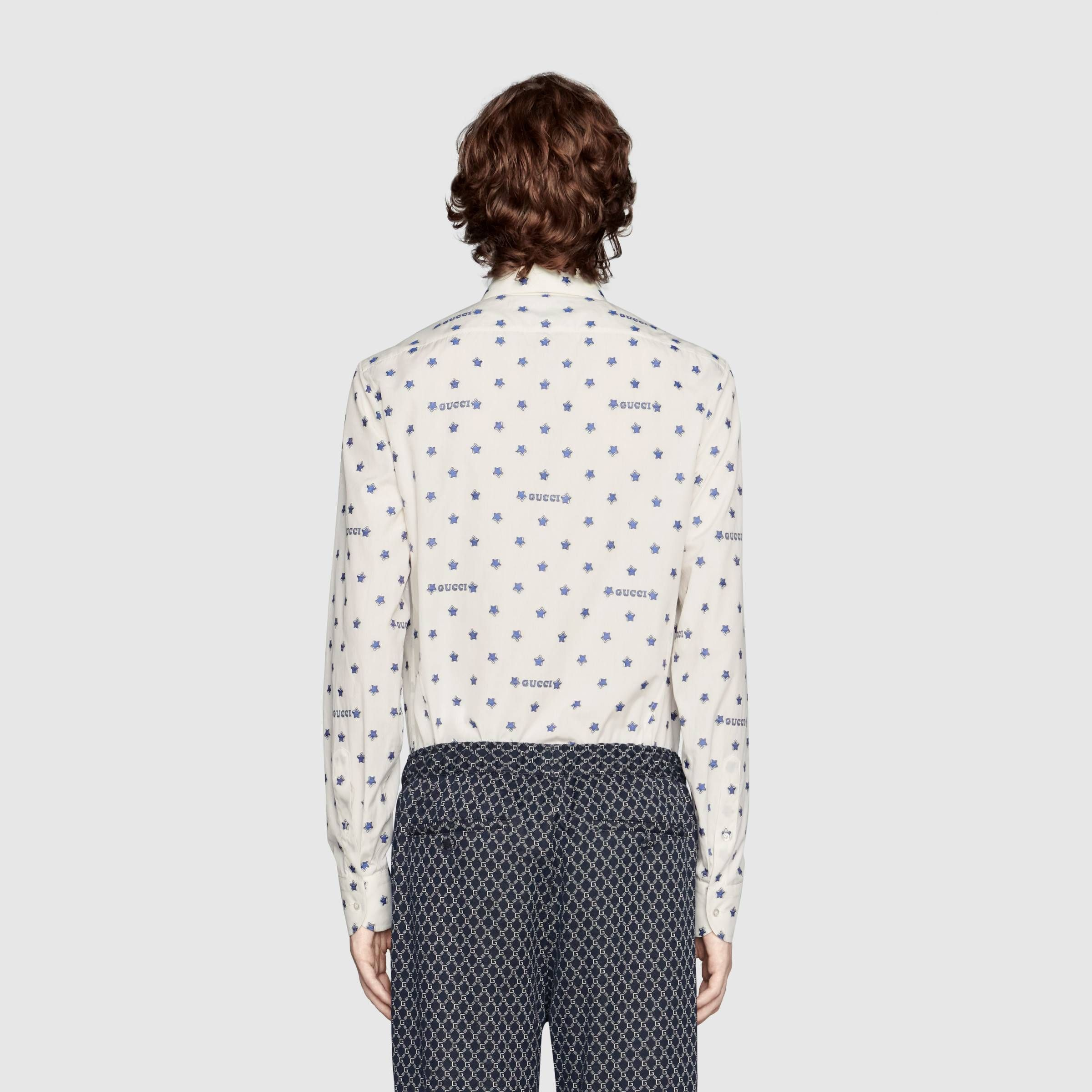 4e297ce02096 Gucci star fil coupé shirt in Off-white cotton with contrast Gucci star fil  coupé | Gucci Men's Formal Shirts