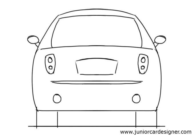 Car Drawing Tutorial Hatchback Rear View How To Draw Drawings