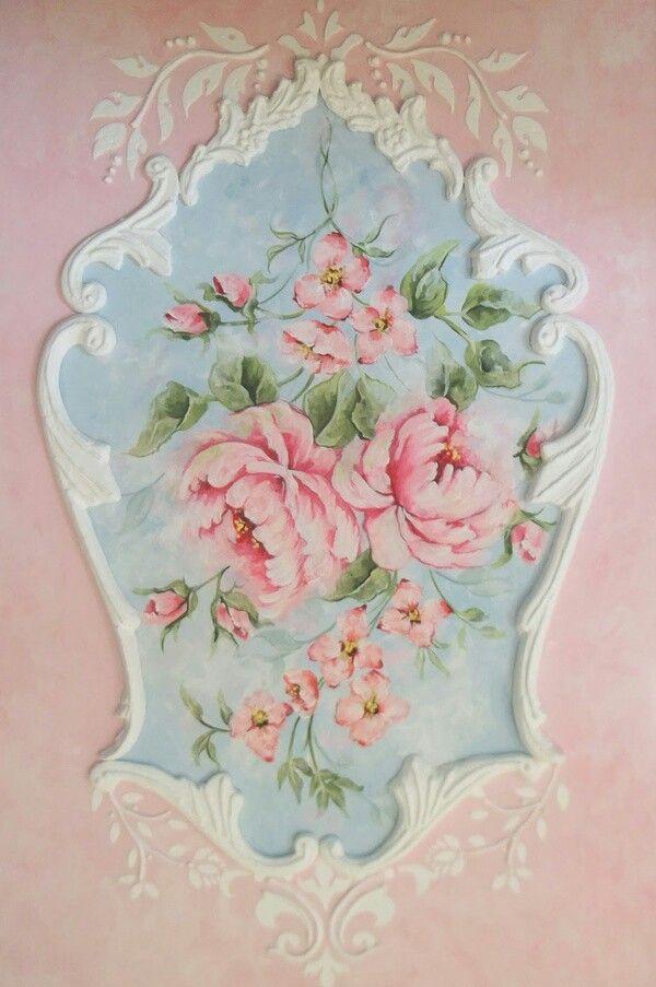 Hand Painted Shabby Cottage Roses Shabby Chic Decor
