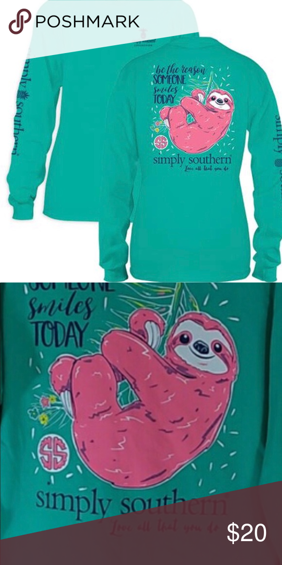 95f715359f49 Simply Southern Pink Sloth Long Sleeve Tee XXL 2XL Super cute long sleeve  tee from Simply