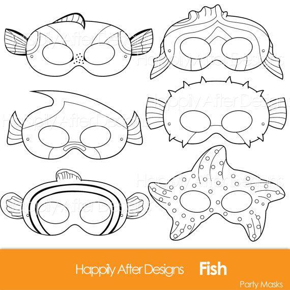 Fish Printable Coloring Masks Clownfish Mask Blue Tang Starfish Pufferfish Party Moorish Idol Costume Page