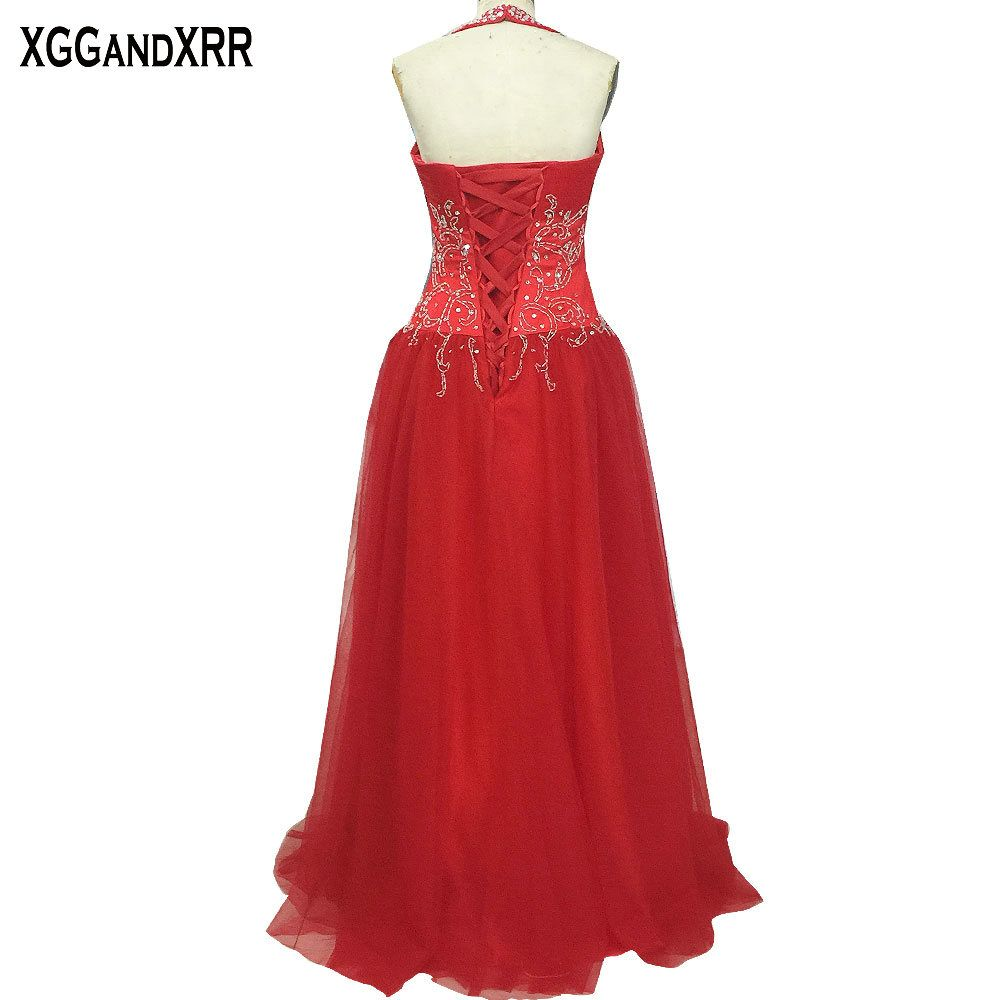 New arrival red tulle a line prom dresses halter neck beaded